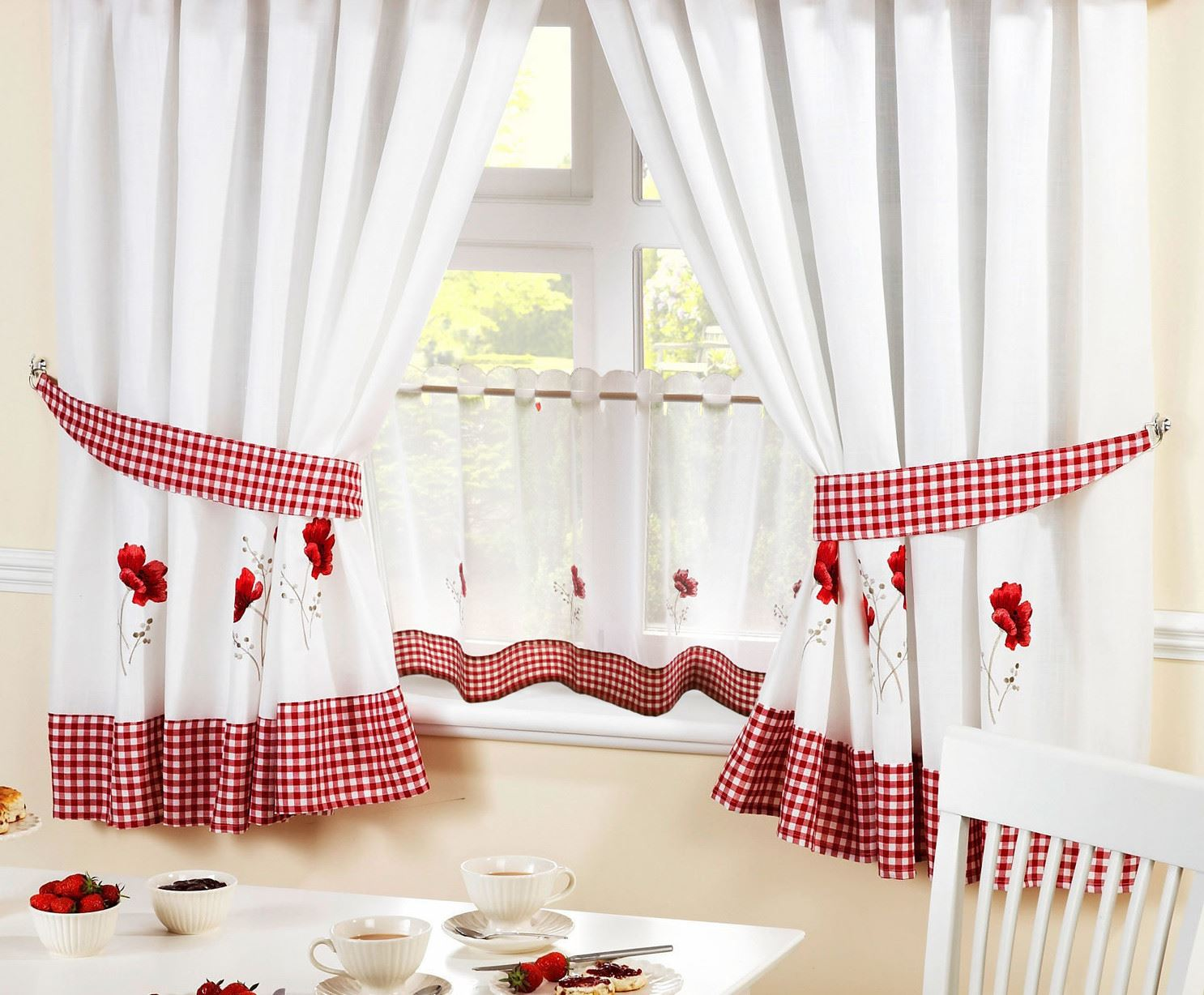 Poppies red embroidered gingham kitchen curtains amp 18