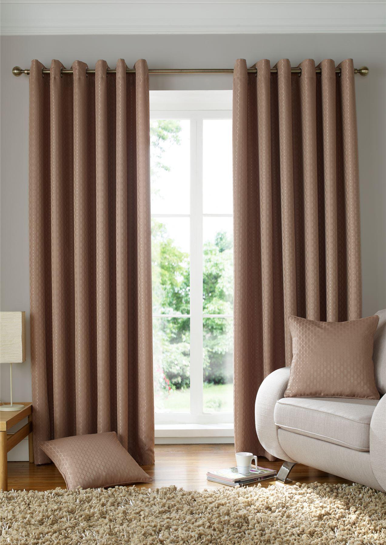 Tissé beige jacquard carrés beige Tissé doublé rideaux à anneaux rideaux  9 tailles 847d8a