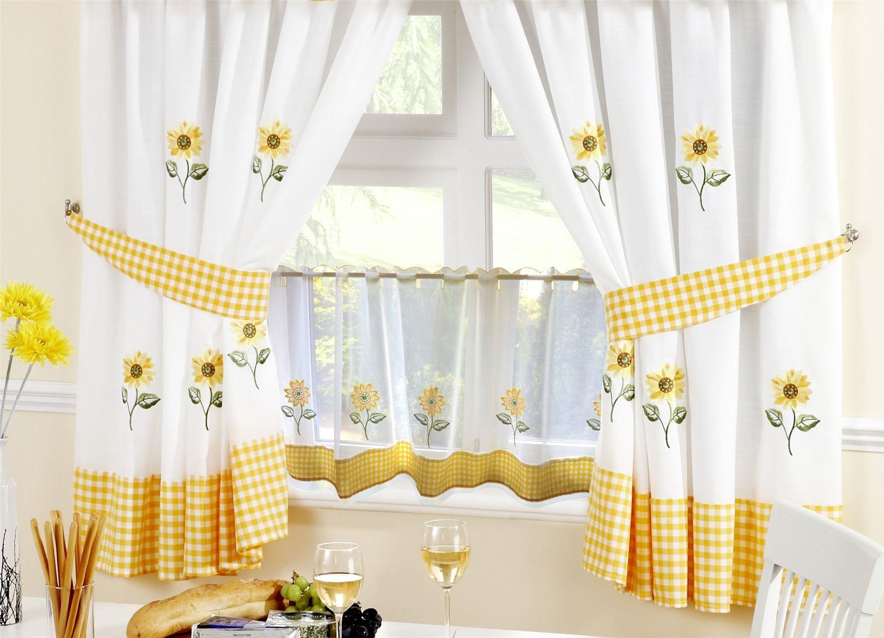 Sunflower kitchen curtains amp 24 cafe panel 5