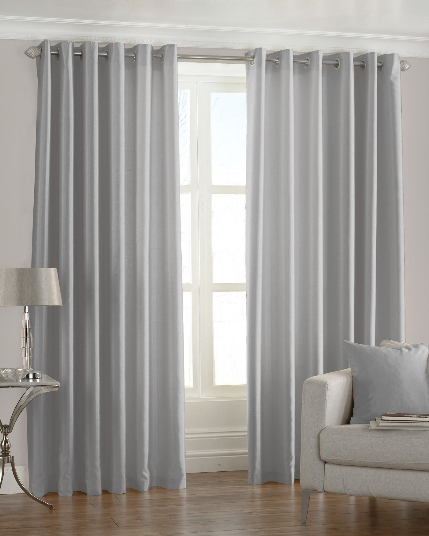 PLAIN FAUX SILK SILVER GREY RING TOP CURTAINS *7 SIZES* | eBay
