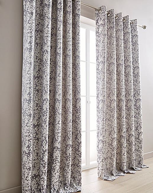 FLORAL GREY PURPLE CREAM LINED RING TOP CURTAINS