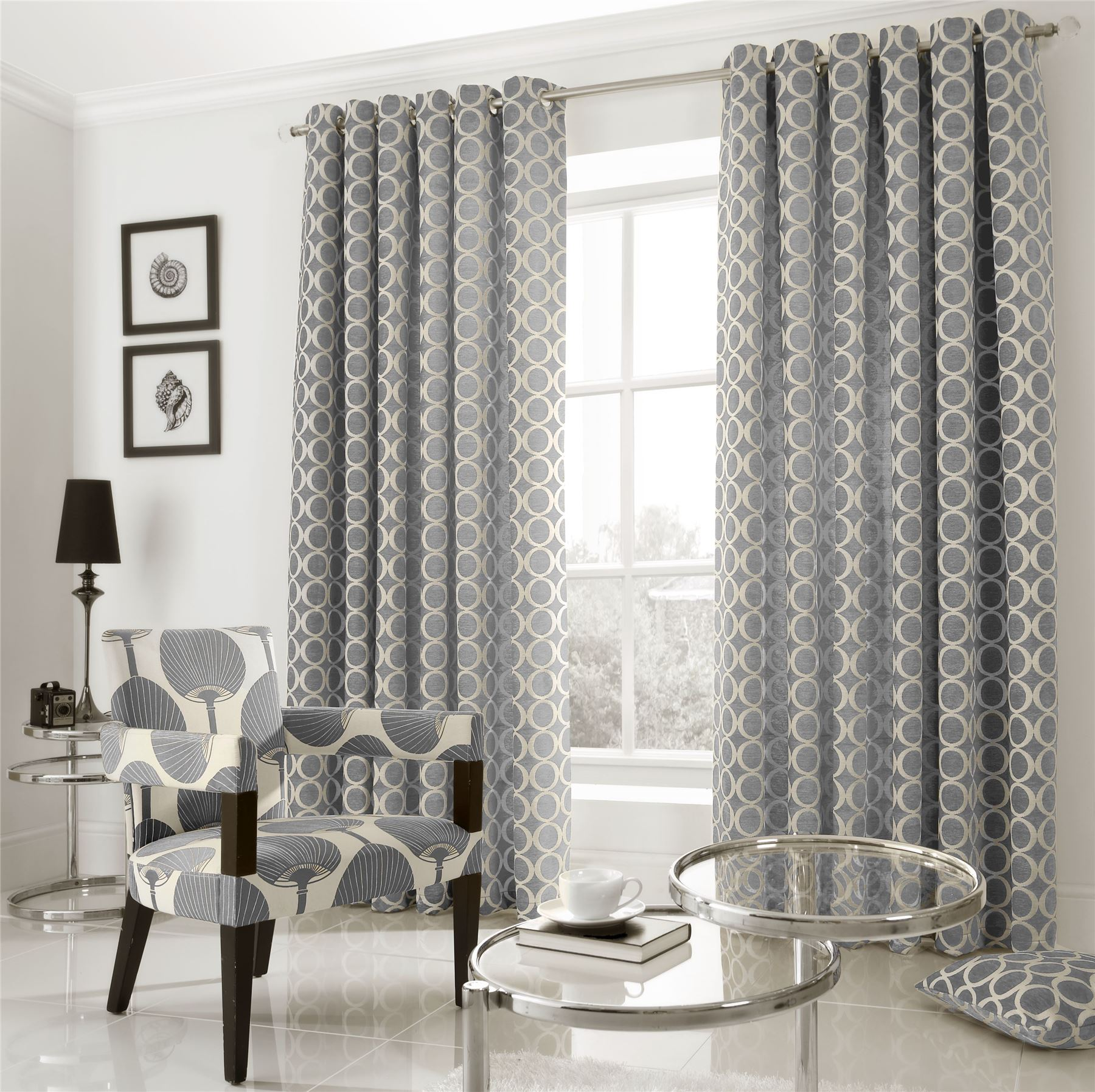 EMBROIDERED CIRCLE CHENILLE GREY CREAM RING TOP CURTAINS