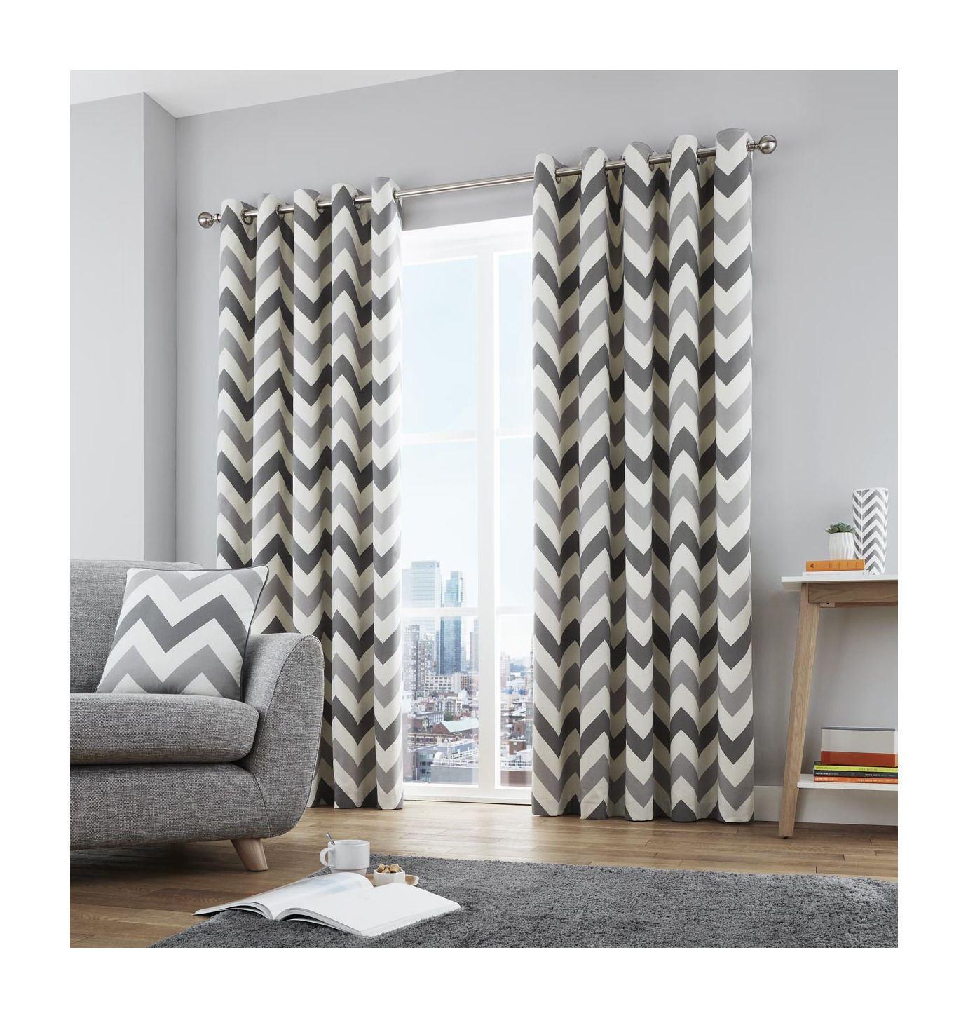 Zig Zag Chevron Grey Cream Fully Lined Ring Top Curtains 7 Sizes Ebay