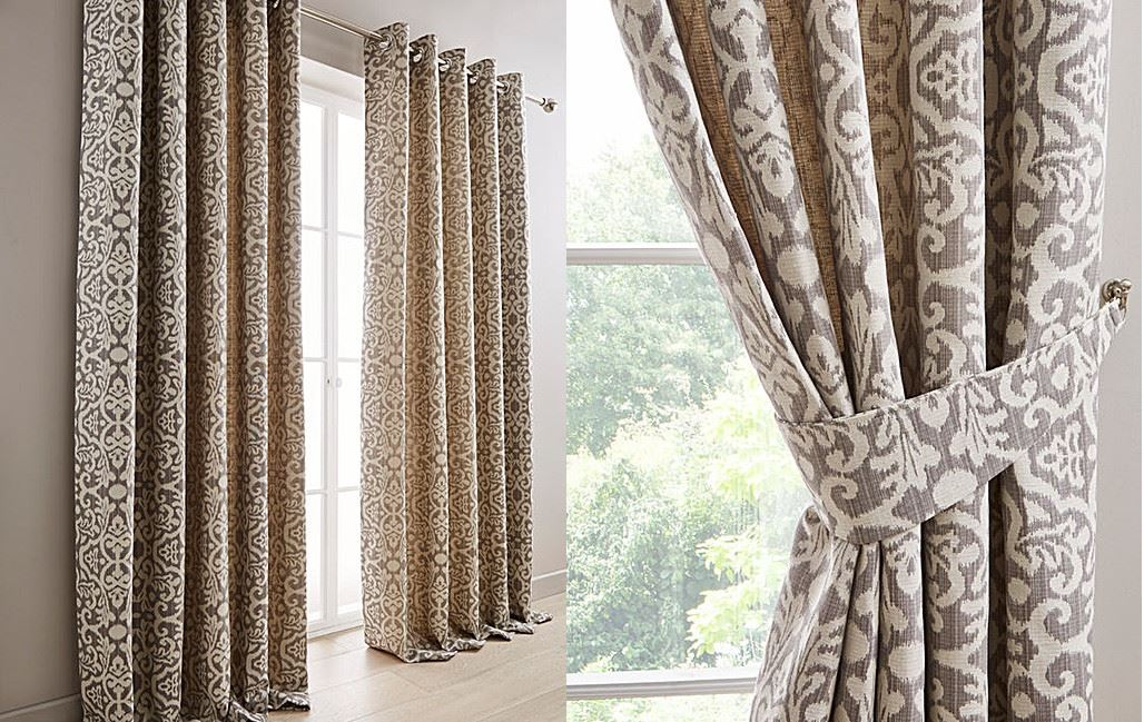 WOVEN DAMASK LINED GREY CREAM RING TOP CURTAINS