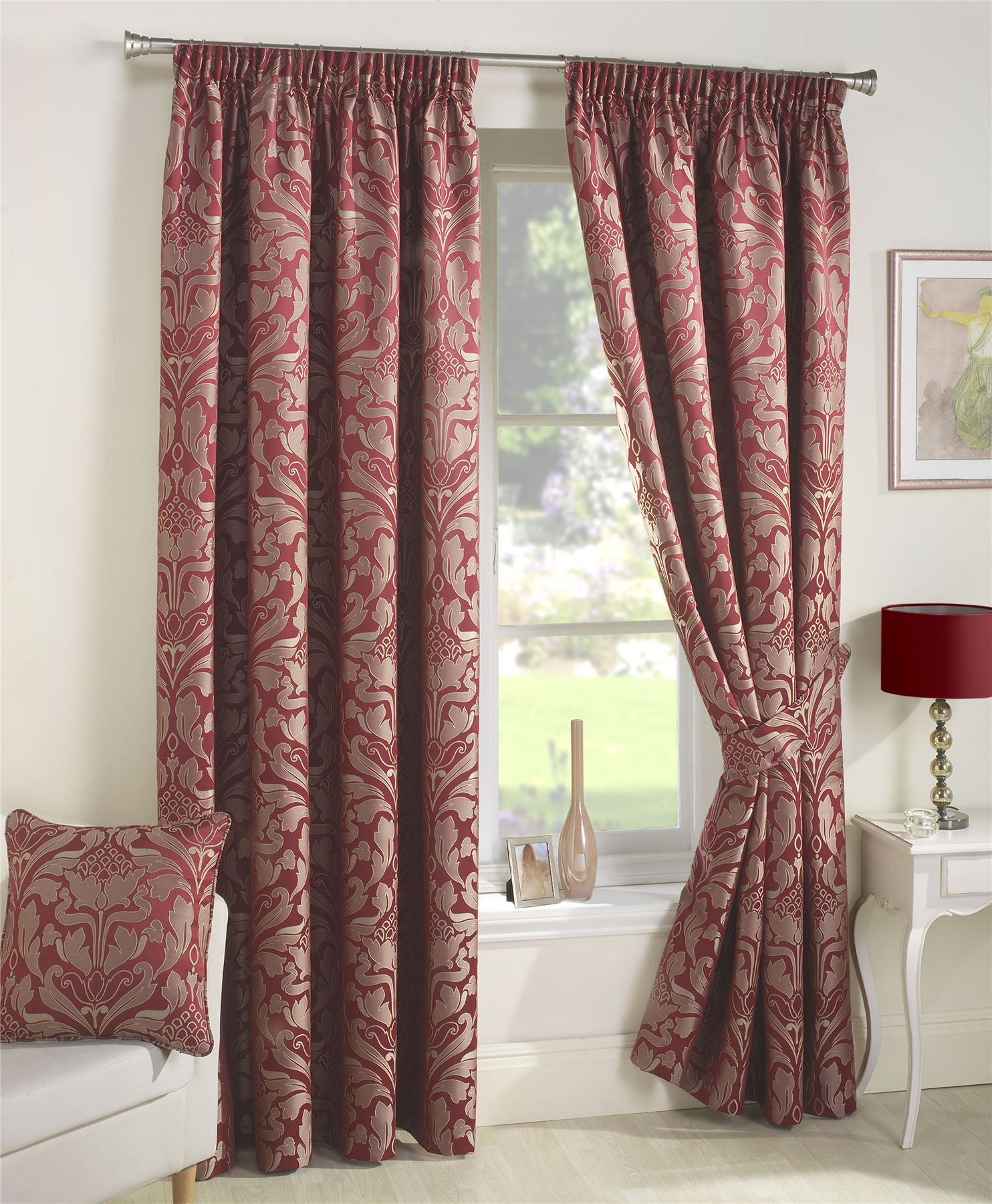 Curtina Crompton Damask Jacquard Pencil Pleat Lined Curtains Red ...