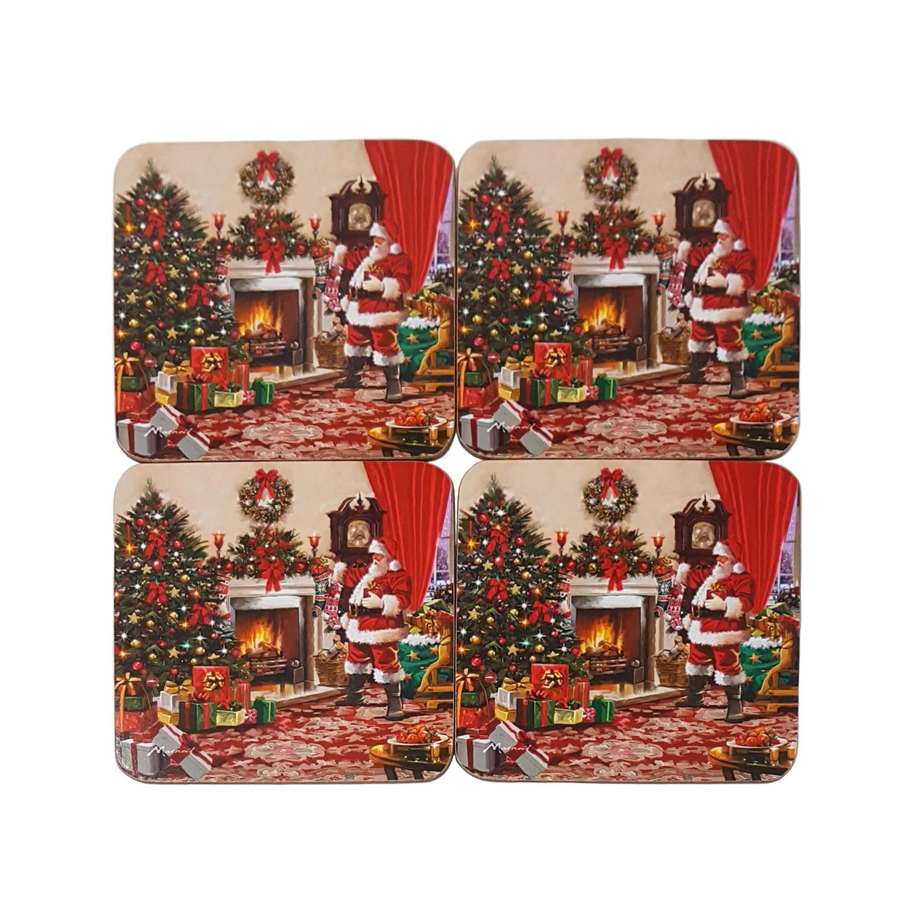 Babbo 4 Natale.4 X Babbo Natale Babbo Albero Fuoco Decorazioni Sughero Cena Sottobicchieri Ebay