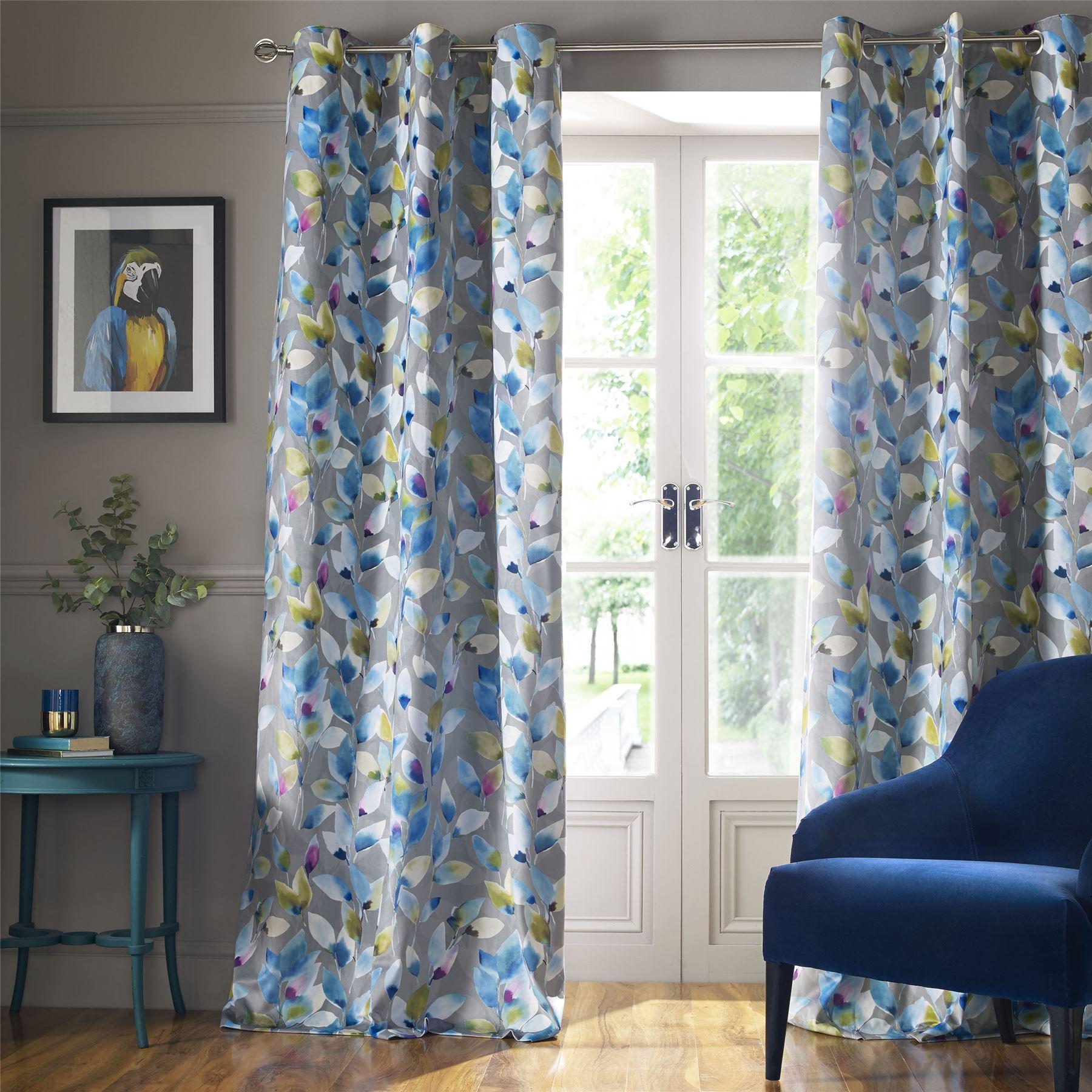 Gris Bleu Violet Doublé Blanc Vert Floral Doublé Violet Velours Rideaux à anneaux  5 tailles 3bdb8c