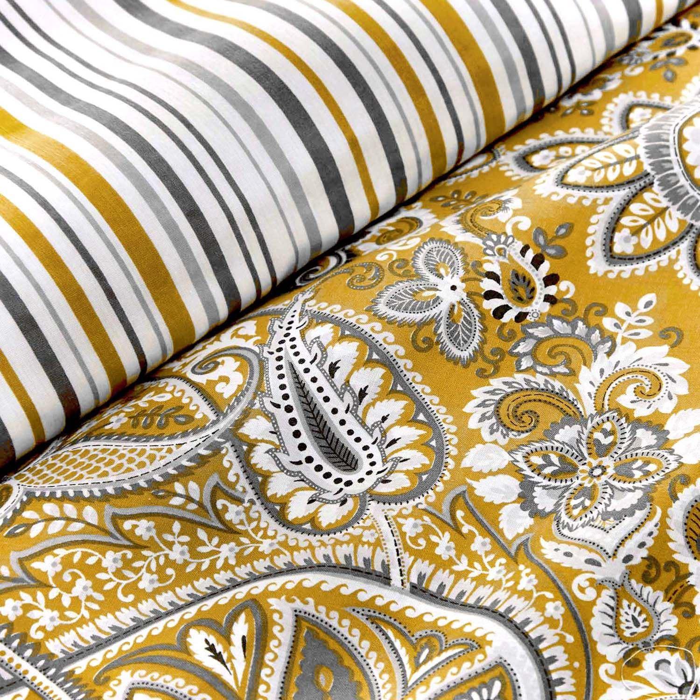 Copripiumino Matrimoniale Color Oro.Paisley A Righe Color Ocra Oro Bianco Misto Cotone Doppio