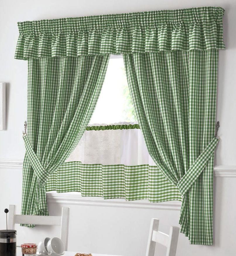 "Gingham Curtains Red And White Gingham Curtains Kitchen: GREEN AND WHITE GINGHAM KITCHEN CURTAINS PELMET & 24"" CAFE"