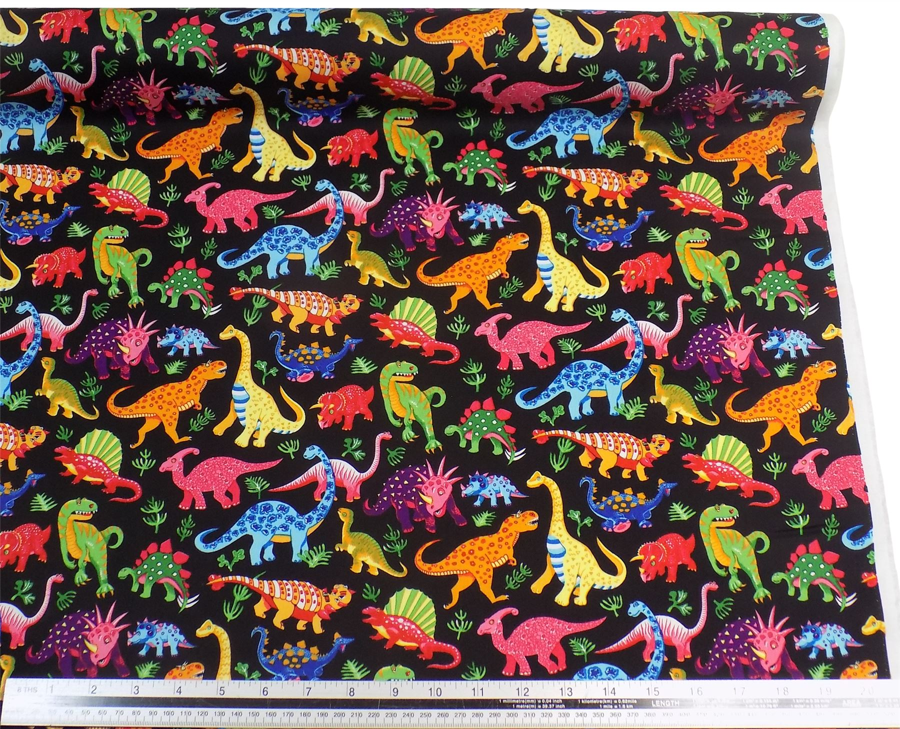 Kids dinosaurs black 100 cotton high quality fabric for Dinosaur fabric