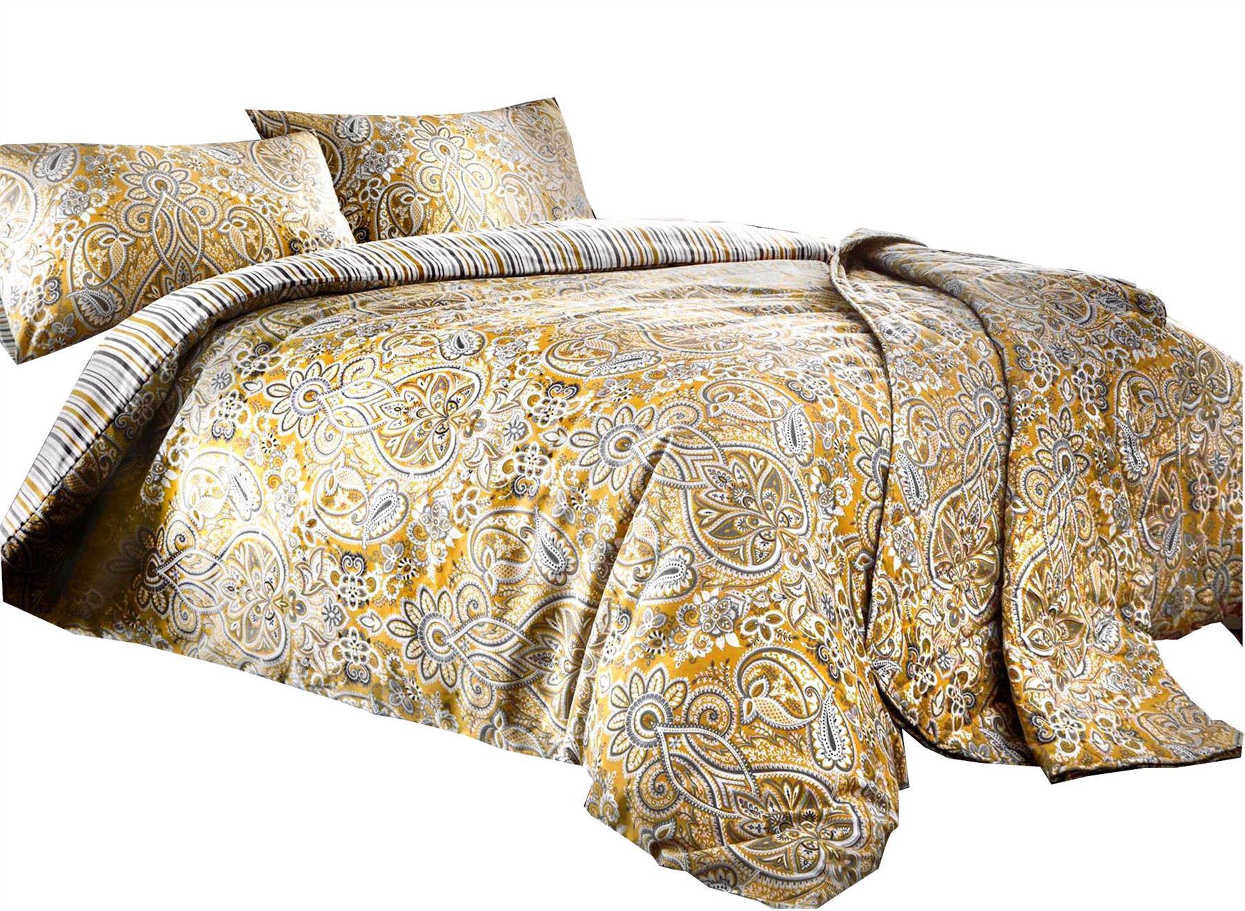 Copripiumino Color Oro.Paisley A Righe Color Ocra Oro Bianco Misto Cotone Super King