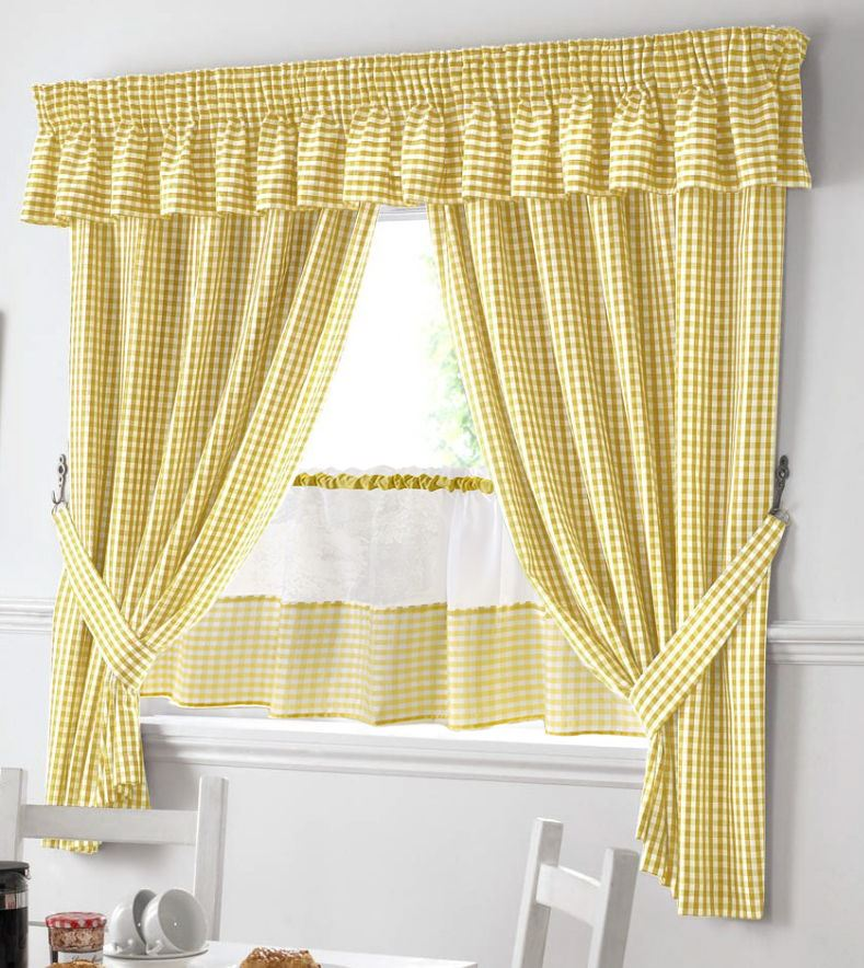 YELLOW AND WHITE GINGHAM KITCHEN CURTAINS PELMET & 18