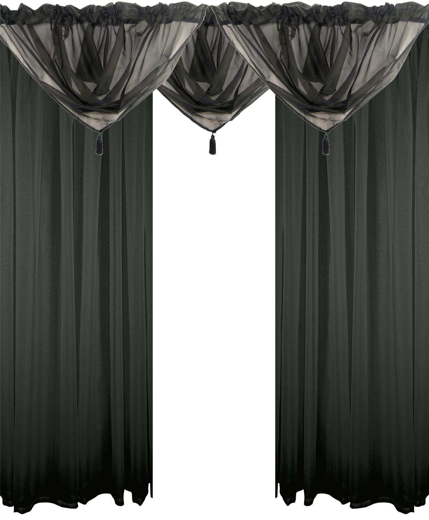 Black 5 piece voile set rod pocket curtains