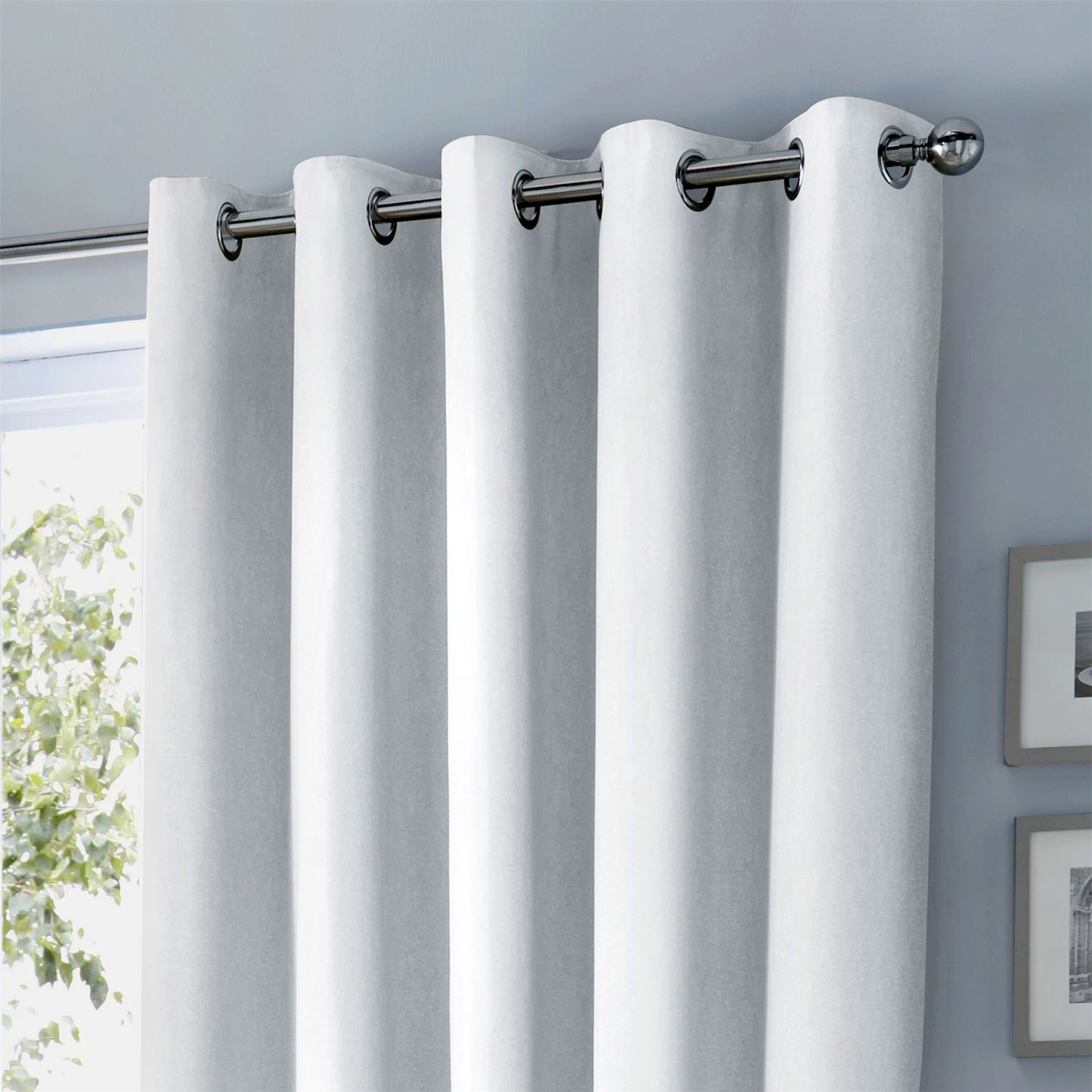 Plain White 100 Cotton Fully Lined Ring Top Curtains 8