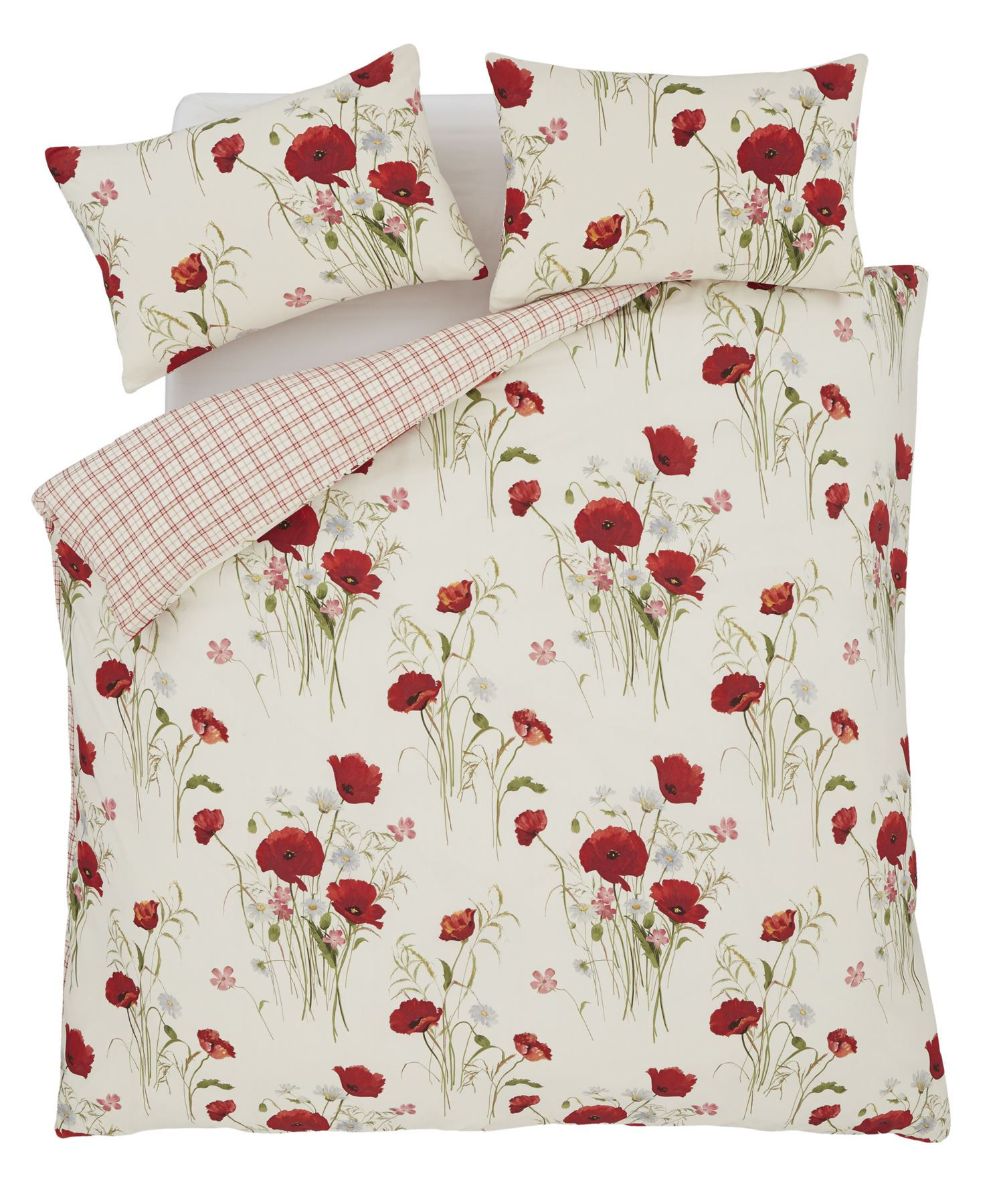MEADOW POPPY DAISY RED KING SIZE DUVET COMFORTER COVER /& ANNEAU TOP CURTAINS
