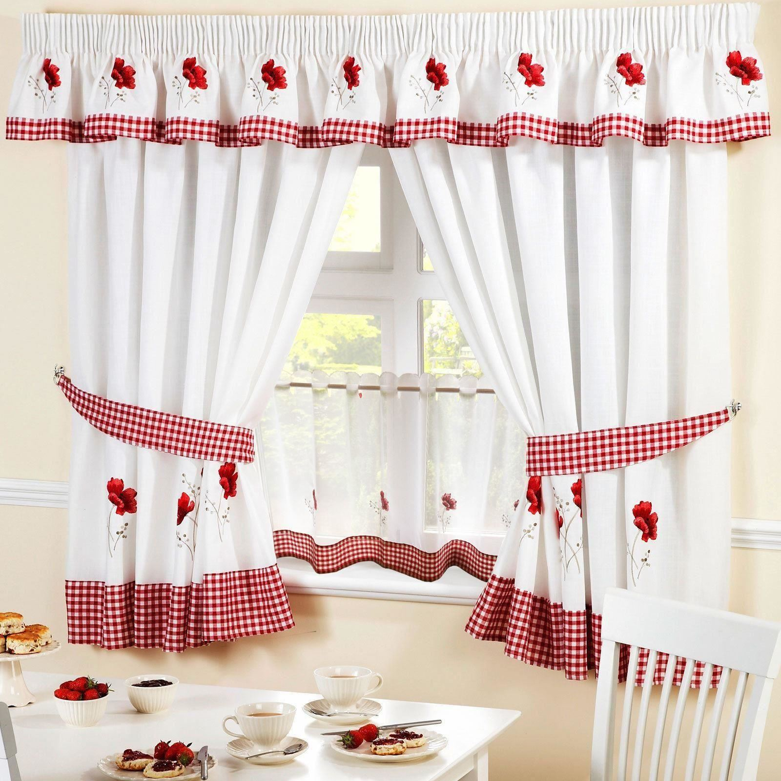 Poppies red embroidered kitchen curtains pelmet amp 18