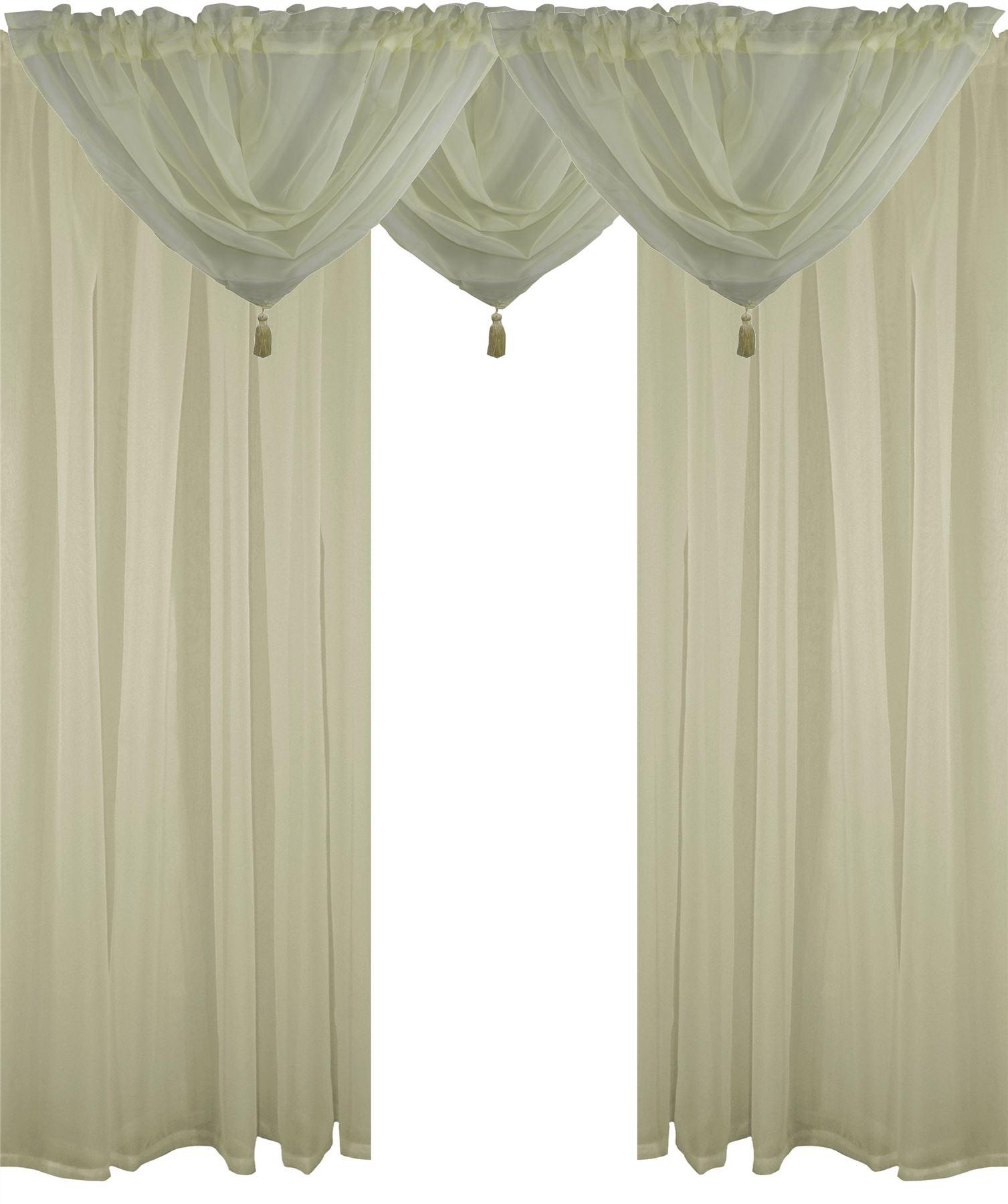 Cream 5 piece voile set rod pocket curtains