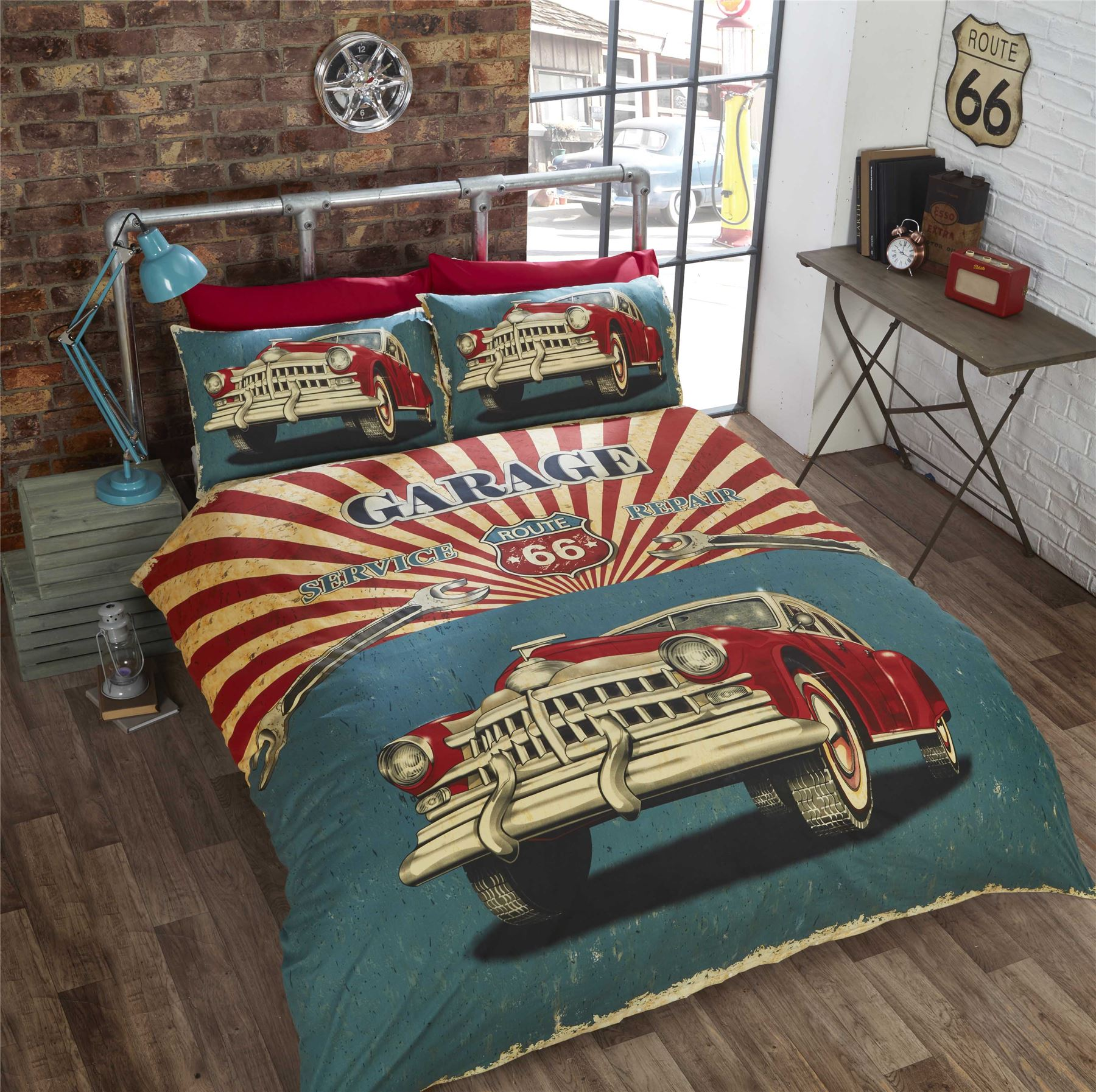 VINTAGE CAR AMERICAN FLAG ROUTE 66 RED TEAL KING SIZE DUVET COVER