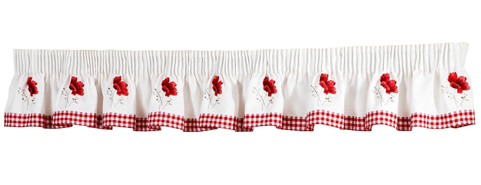 Poppies Gingham Red Embroidered Pelmet To Match Kitchen Curtains 136 X 10 5039373047775 Ebay