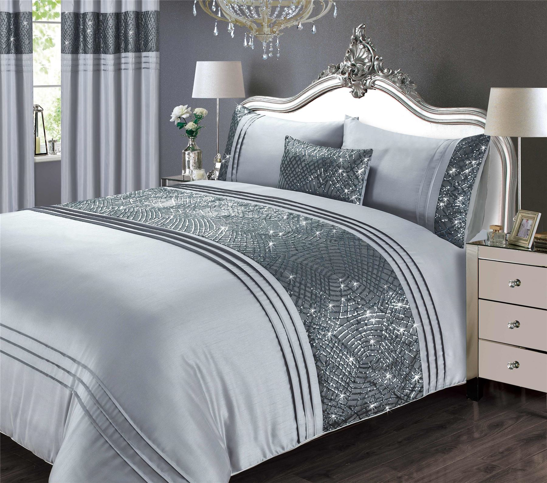 Art Deco Style Sequins Pleats Faux Silk Grey Super King Duvet Cover Ebay