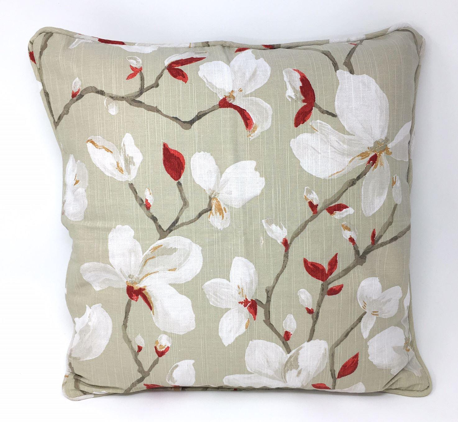 """45 cm Housse de coussin Painted-style floral fleurs rouge écarlate Piped 18/"""""""
