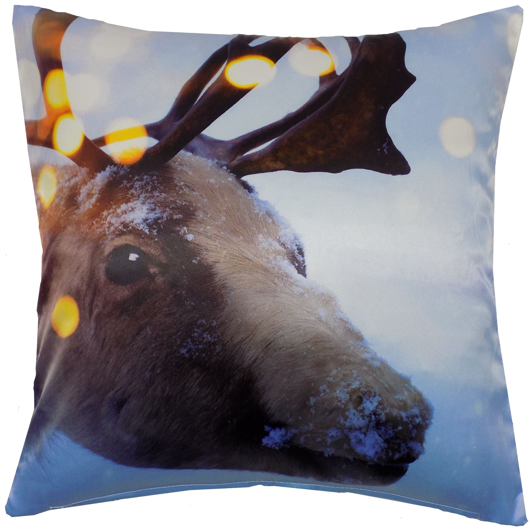 Christmas Rudolph Reindeer Stag Bright White Brown Cushion Cover 17 Quot 43cm Ebay