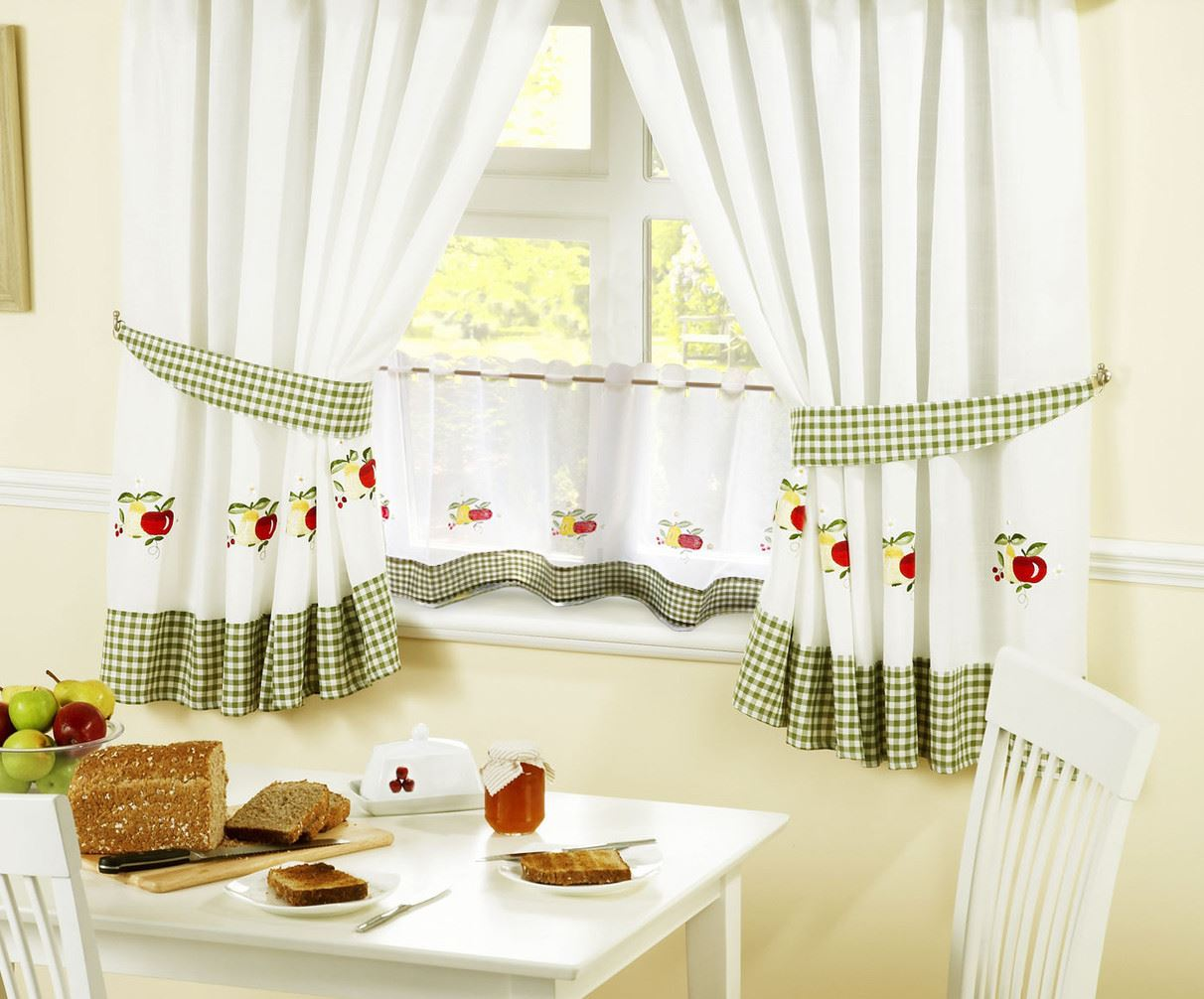 apples amp pears gingham kitchen curtains amp 24� cafe panel