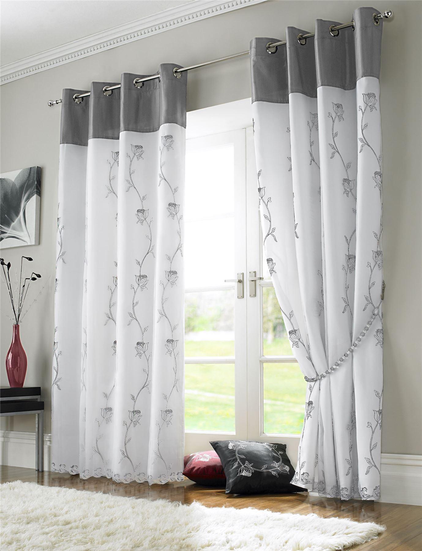 silver grey white floral rose lined voile ring top. Black Bedroom Furniture Sets. Home Design Ideas