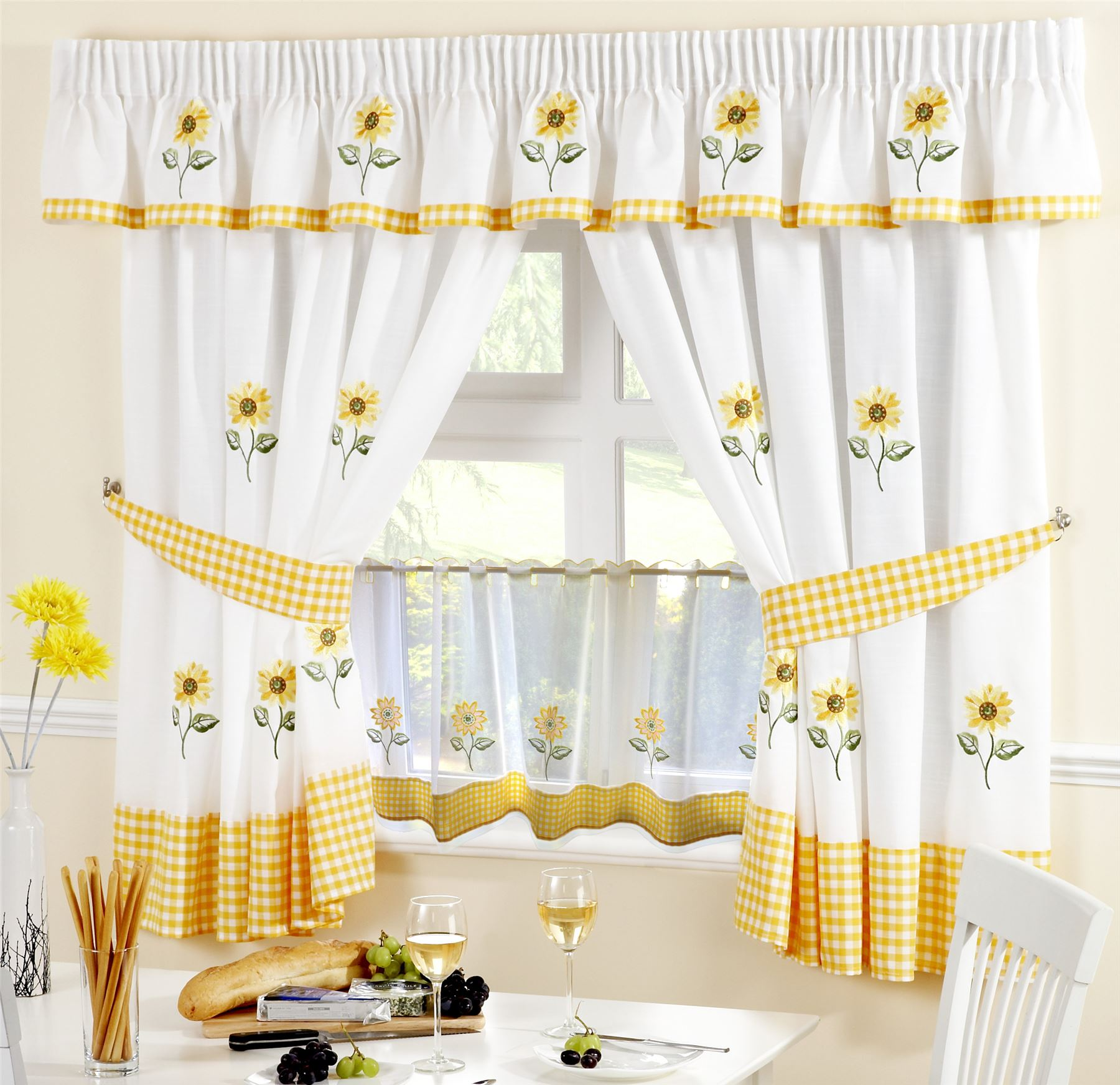 "SUNFLOWER KITCHEN CURTAINS PELMET & 18"" CAFE PANEL *5"