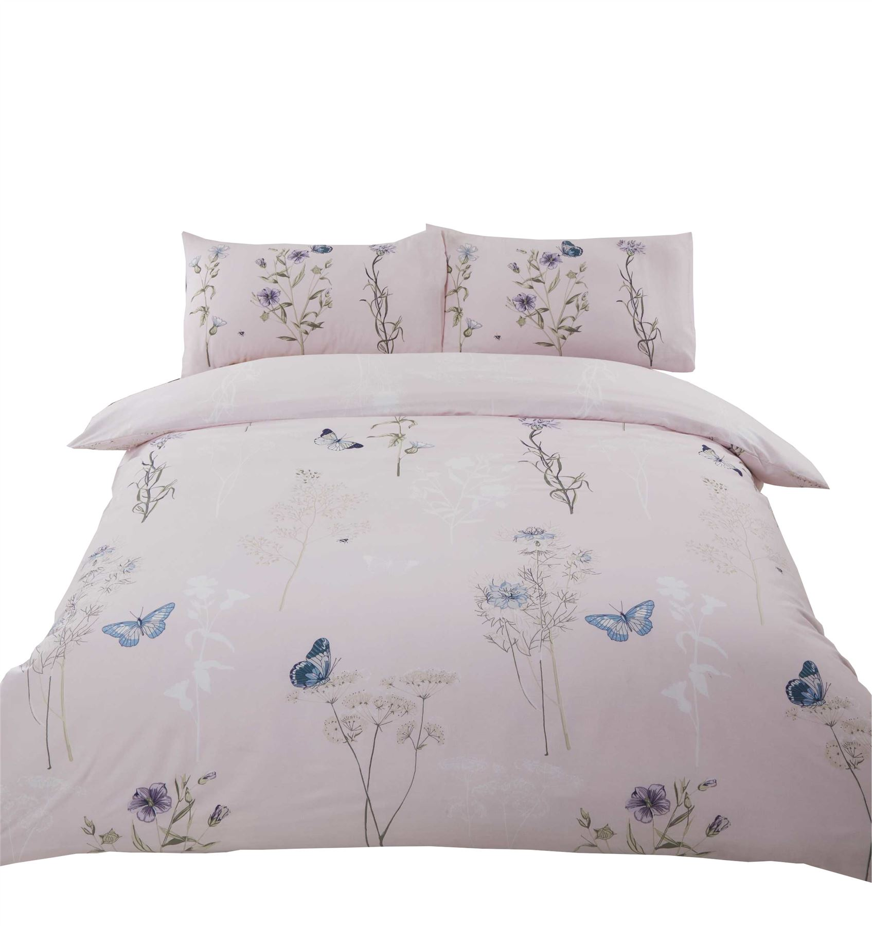 Copripiumino Singolo Rosa.Floral Flowers Butterflies Pink Powder Cotton Single Duvet Cover