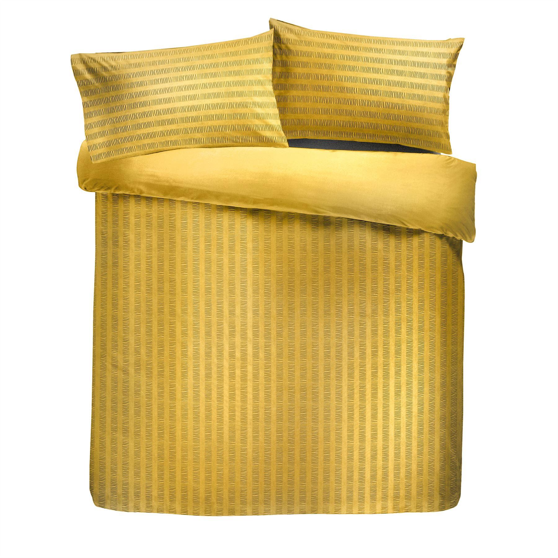 Copripiumino Color Oro.Increspato Pintuck Righe Color Ocra Oro Misto Cotone Doppio