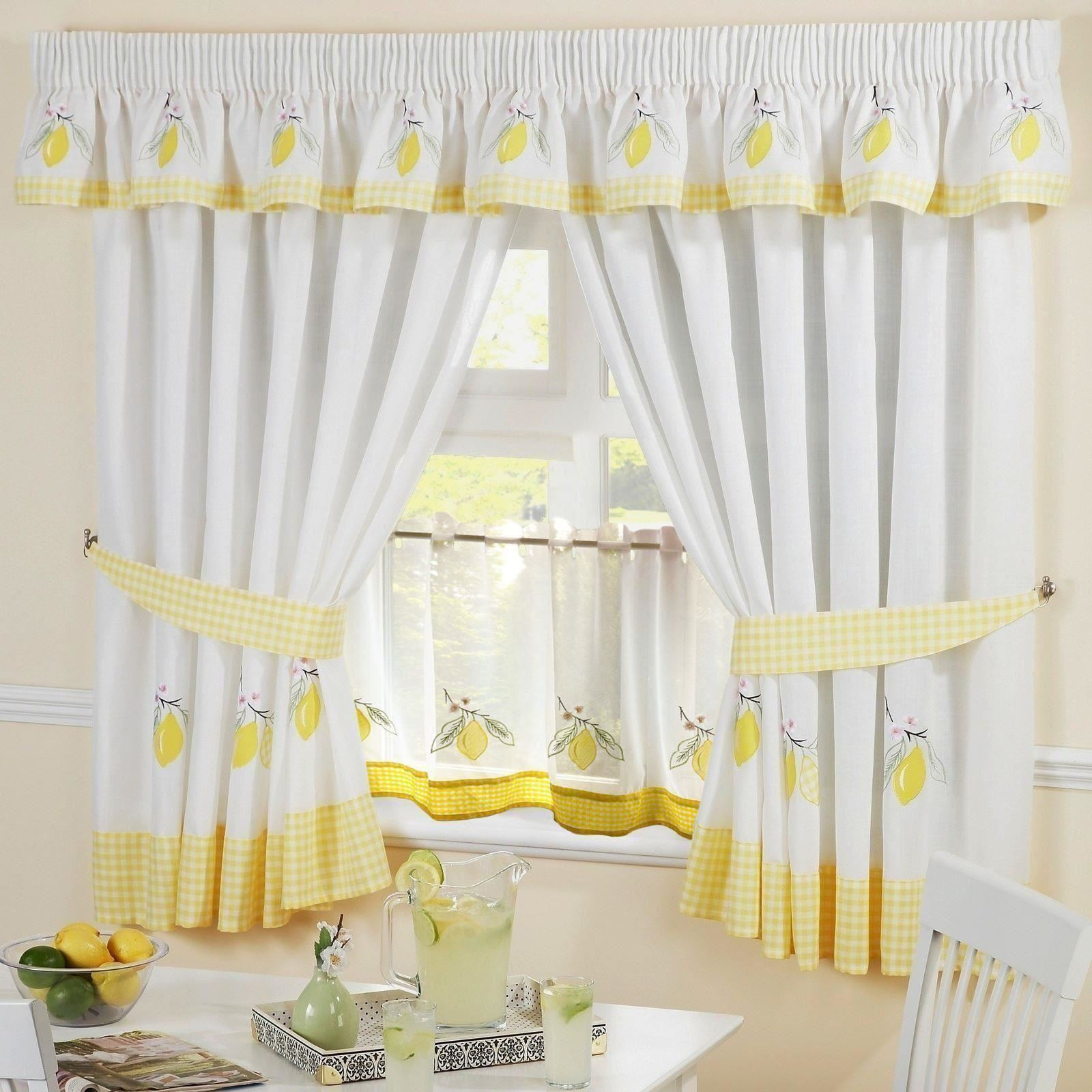 LEMON GINGHAM EMBROIDERED KITCHEN CURTAINS PELMET & 24