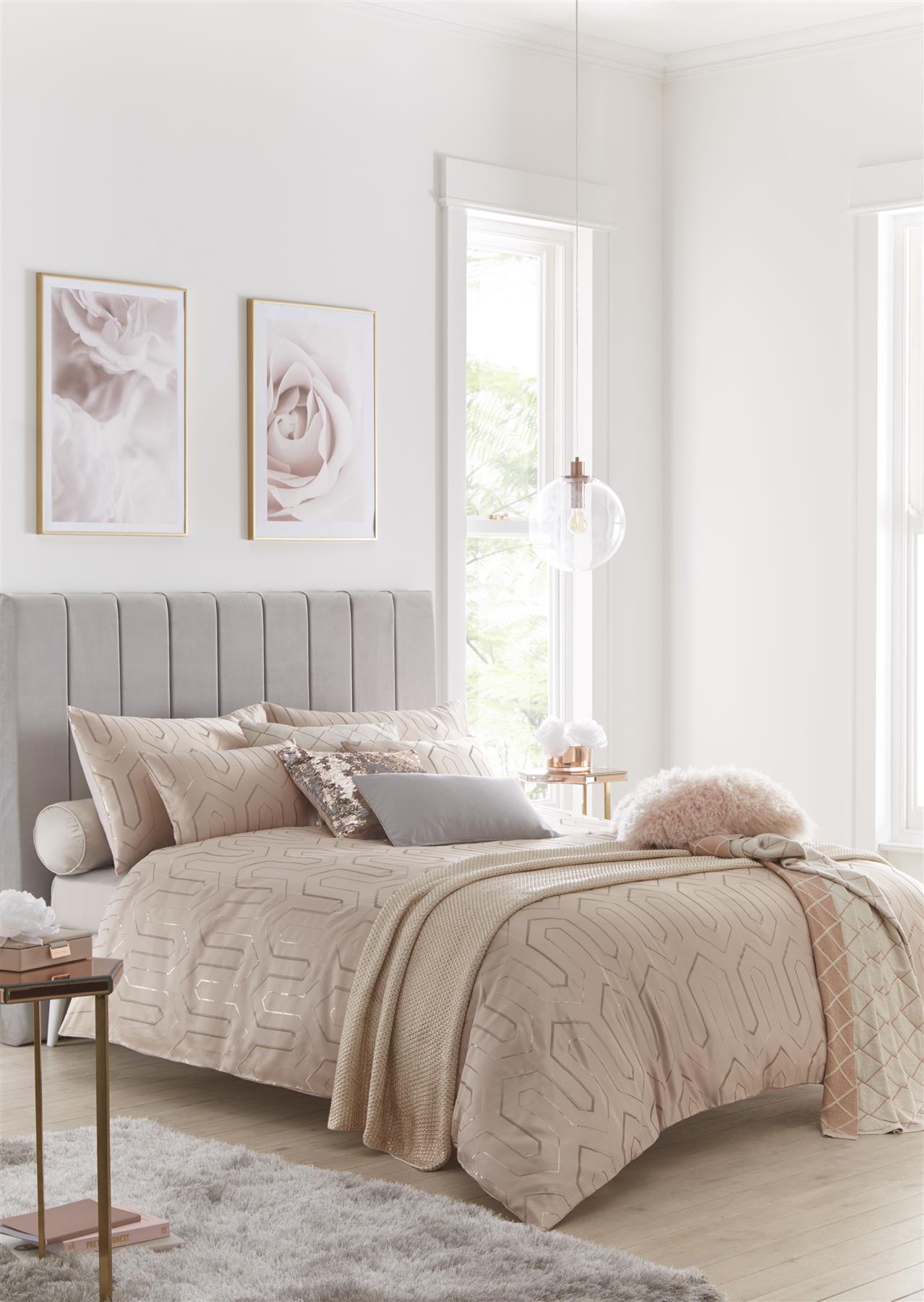Tess Daly Phoebe Blush Embroideredsuper King Size Duvet Cover 5 Piece Beddingset Ebay