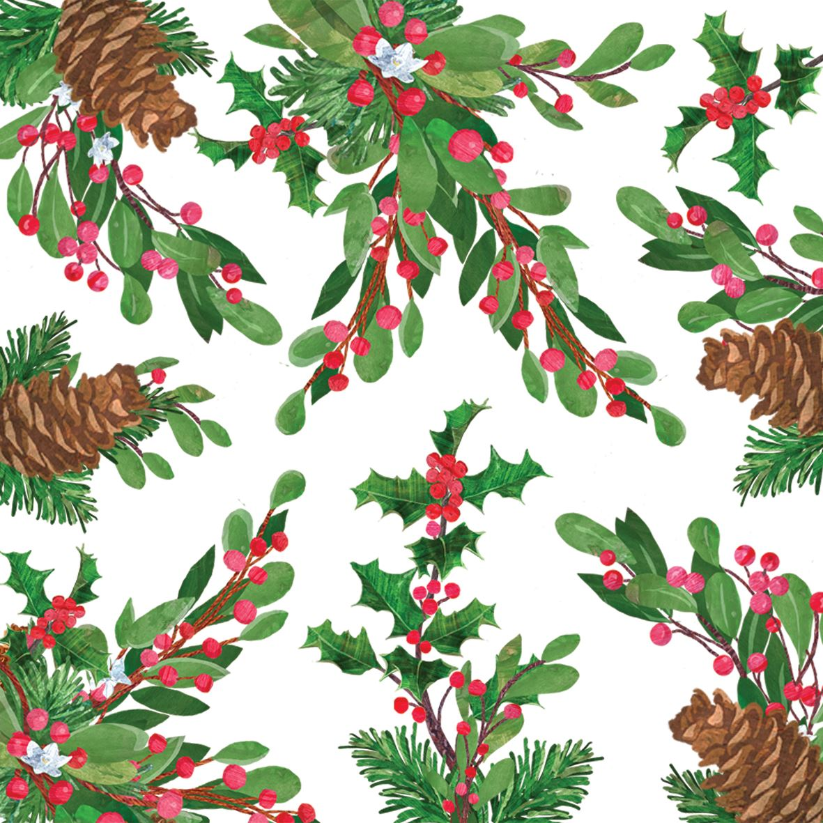 Reindeer//Green Border 20 Pack of 3 Ply Christmas Paper Napkins Serviettes