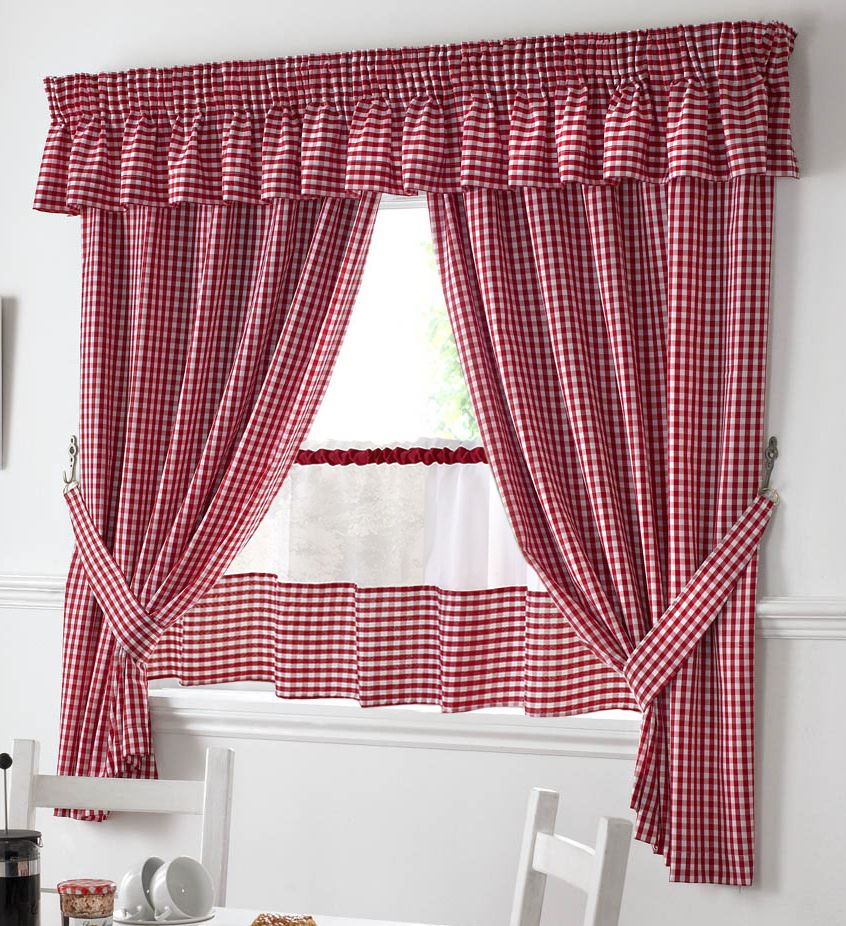 "RED AND WHITE GINGHAM KITCHEN CURTAINS PELMET & 18"" CAFE"