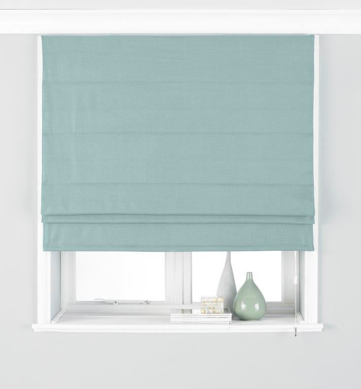 Plain Woven Duck Egg Blue Blackout Lined Roman Blind 5
