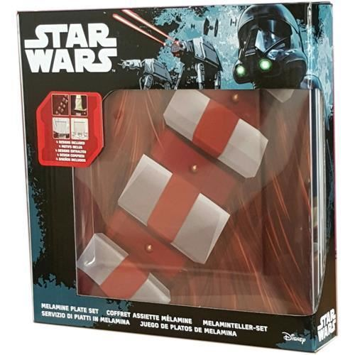 STAR WARS CLASSIC JEDI 1 MELAMINE PLATE SET 4-PIECE  NEW IN BOX LUKE CHEWY