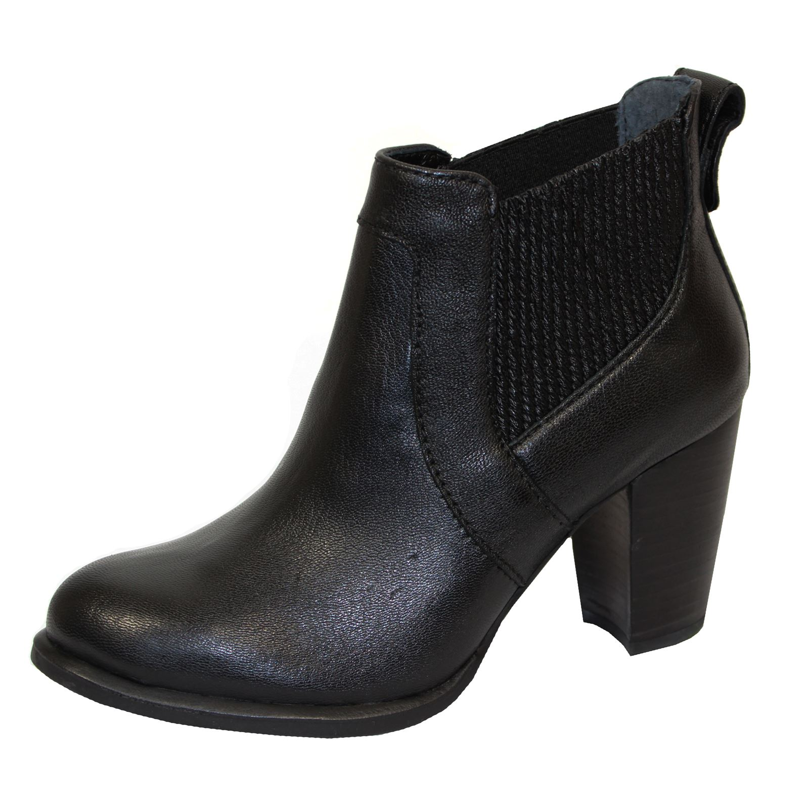 UGG COBIE II WOMENS BLACK LEATHER HEELED ANKLE BOOTS