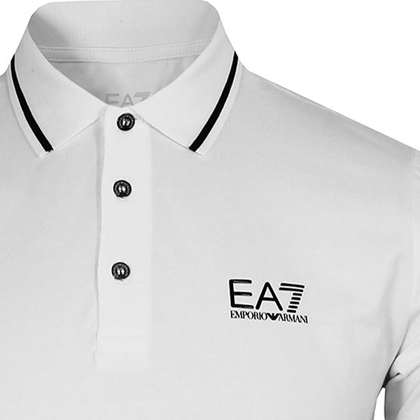 4b1250c3 Details about EA7 EMPORIO ARMANI MENS WHITE TIPPED POLO SHIRT