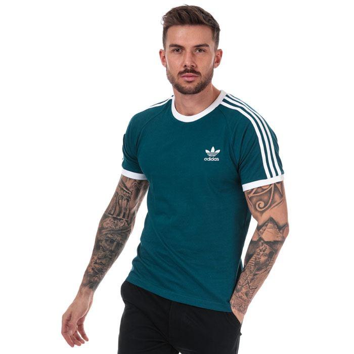 Details zu Men's adidas Originals 3 Stripes T Shirt in Green