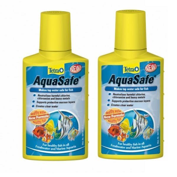 Tetra Aquasafe 2 X 500ml Aquarium Fish Tank Dechlorinator Tap Water