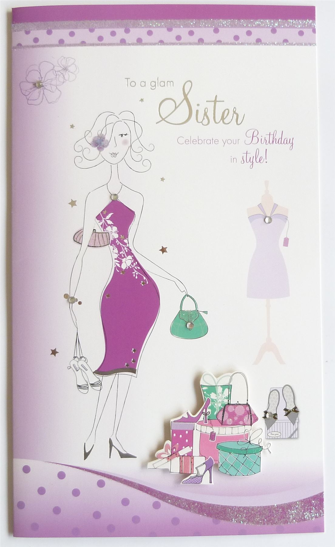 Hand Crafted Sister Girl Happy Birthday Card & Envelope Sealed