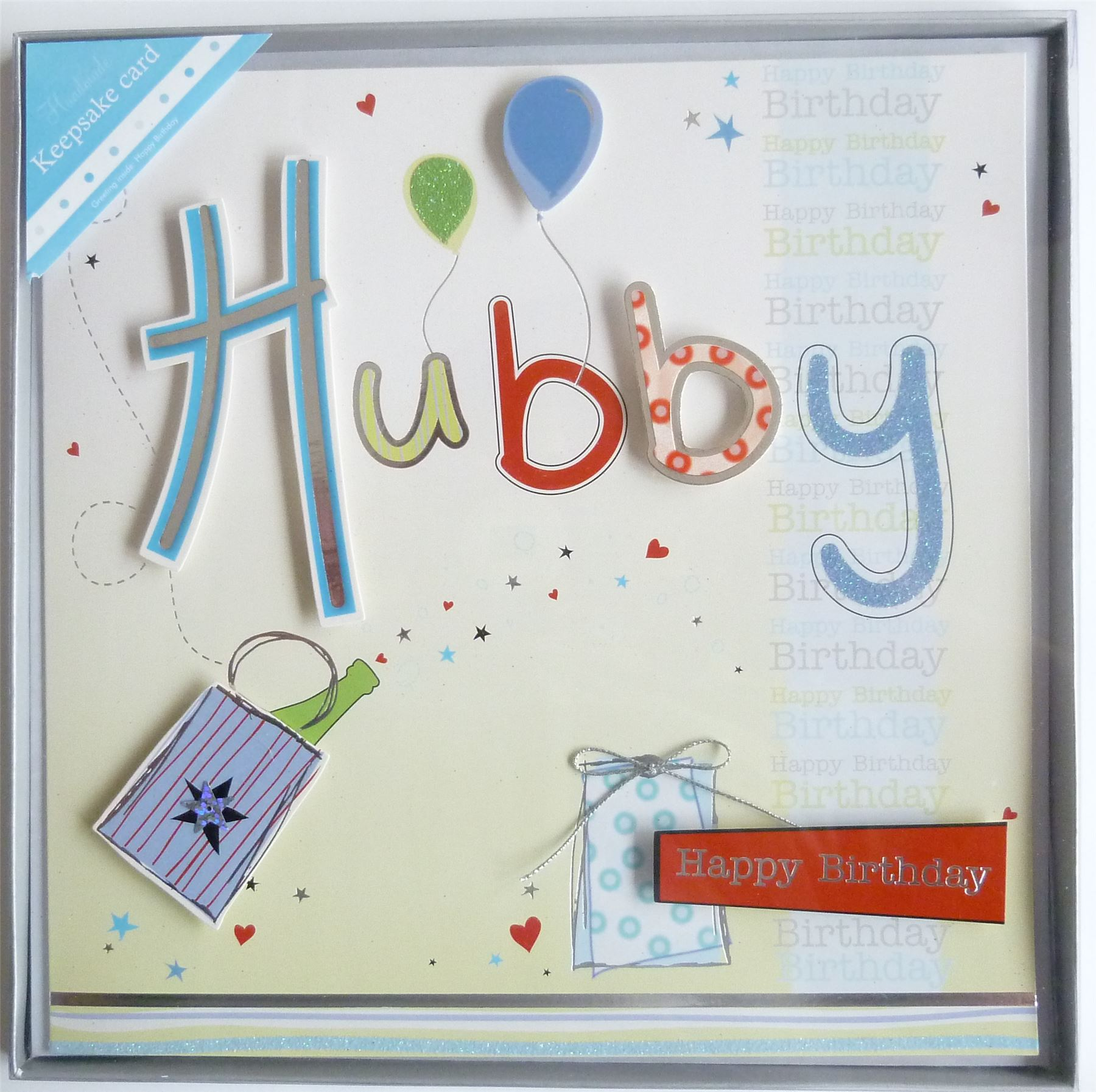 Hand Crafted Husband Hubby Happy Birthday Card Boxed Silver