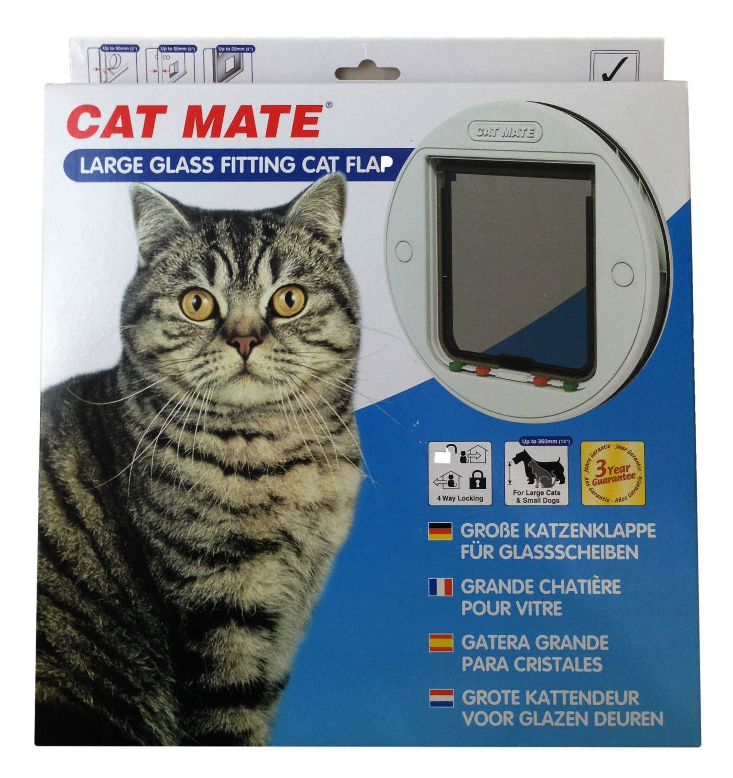 Pet Mate Large Glass 4 Way Locking Cat Dog Door Flap 357w