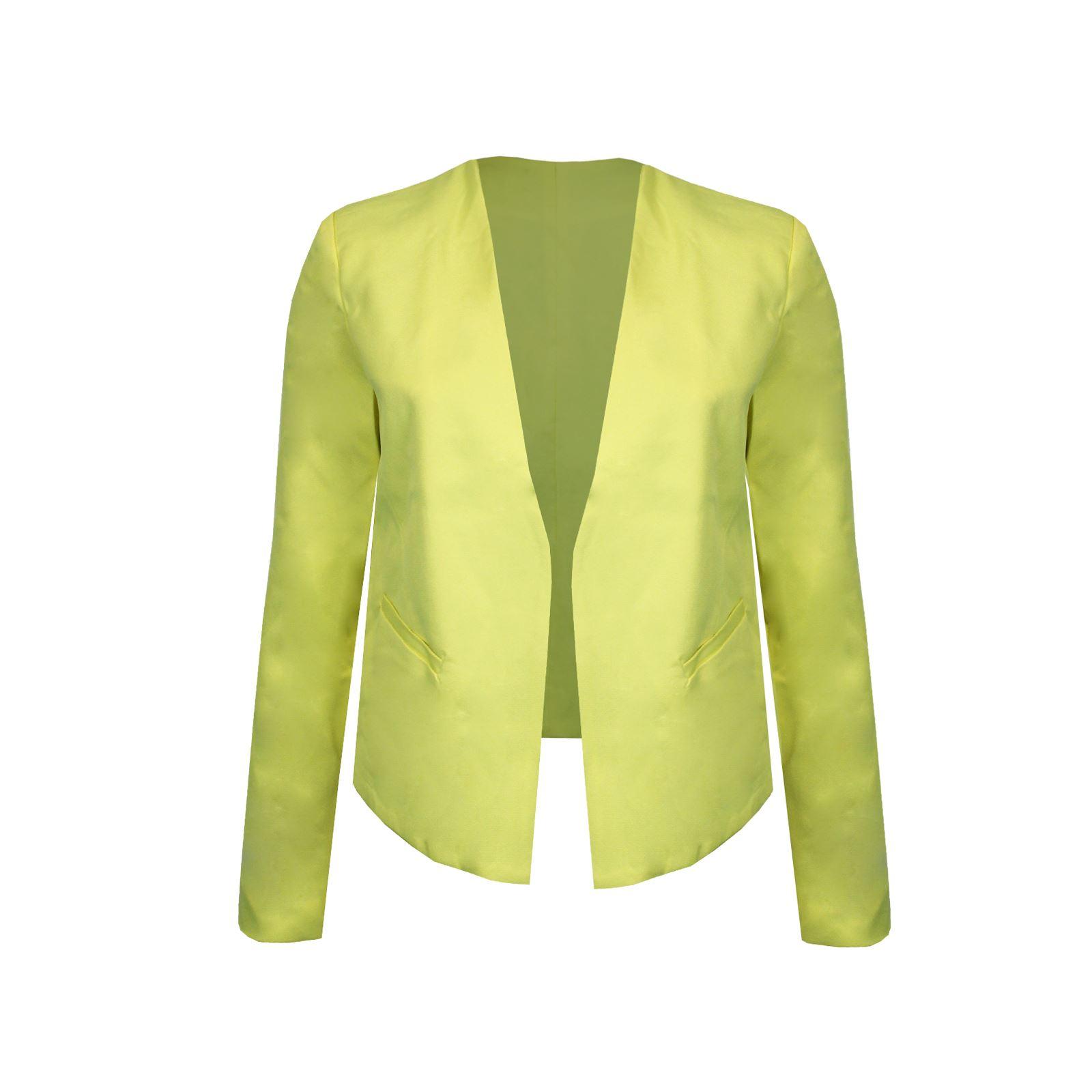 Womens Long Sleeve Ponte Collarless Fully Lined Jet Pocket Formal Jacket Blazer | EBay