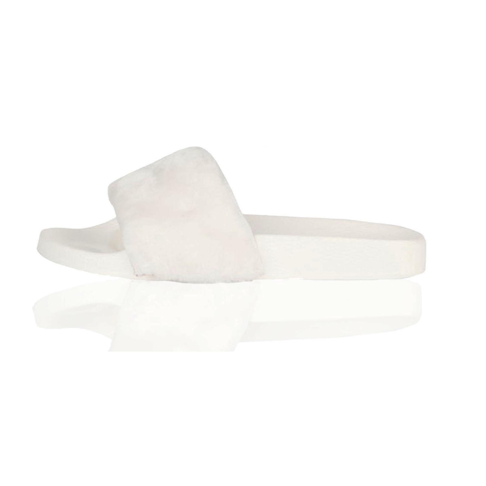 Para mujer Slip On Flat Farrah Goma Sandalias Zapatilla Zapato De Piel Deslizante Mulas