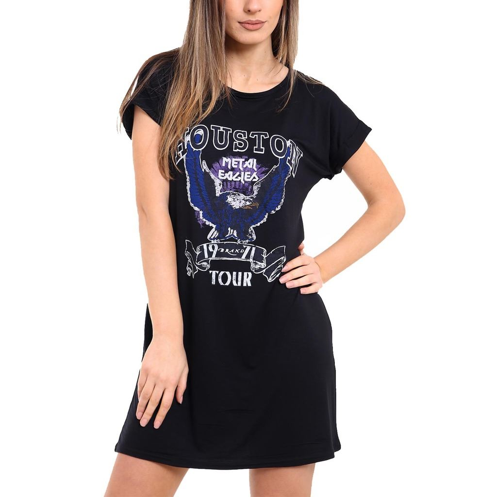 Black t shirt dress ebay - Womens Ladies Printed Houston Short Turn Up Sleeves