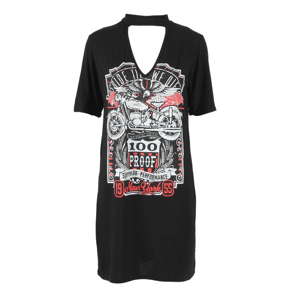 Black t shirt dress ebay - Womens Ladies Printed Choker V Neck Ride Till