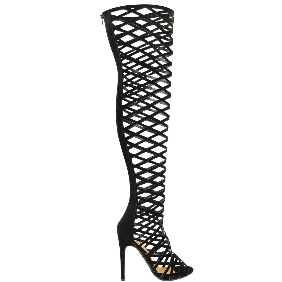 Para mujer alto del muslo Sobre La Rodilla Zapatos De Taco corte Peep Toe Sandalia Botas