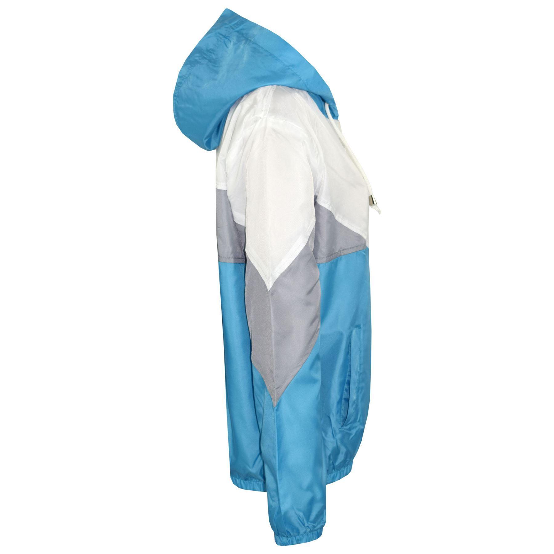 A2Z 4 Kids/® Kids Girls Boys Windbreaker Jackets Designers Contrast Panel Black Hooded Light Weight Waterproof Kagoul Rain Mac Raincoat Age 5 6 7 8 9 10 11 12 13 Years